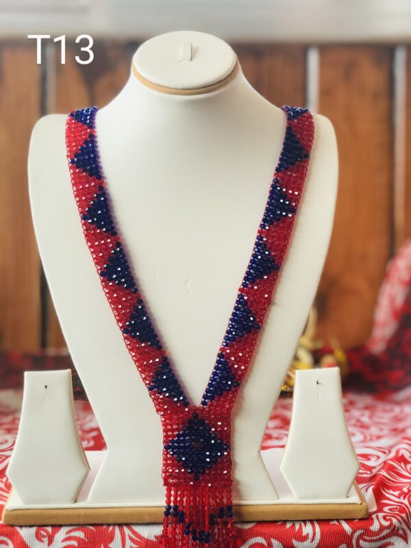 red and blue Crystal Necklace, mala T13