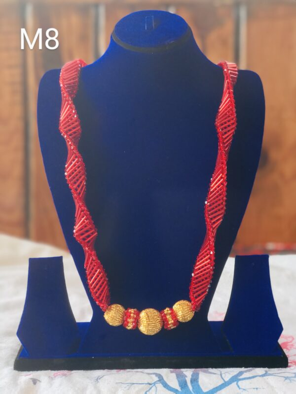 Red Round strip mala, Necklace M8